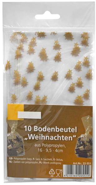 "A4 Bodenbeutel 160x95x35mm pp mit Motiv ""Sterne"""
