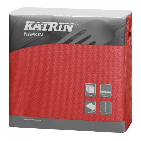 Rot Katrin Servietten papier 330mm 1-lagig 1/4 Falz