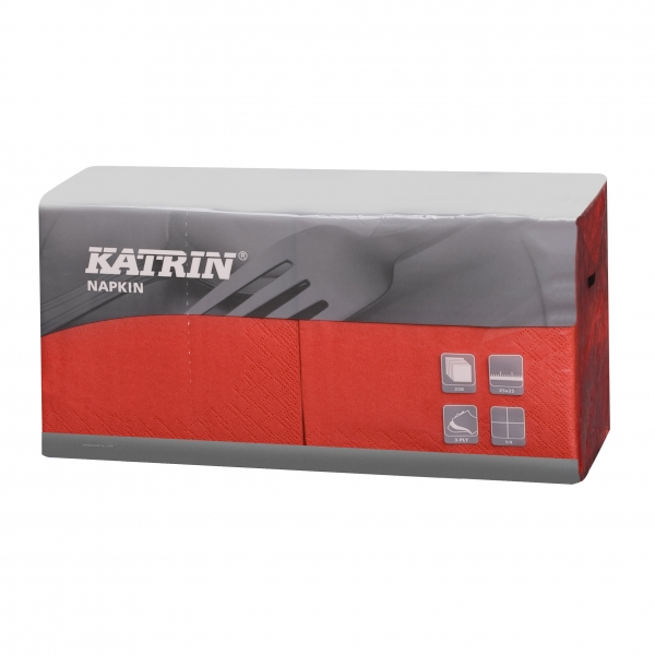 Rot Katrin Premium Servietten papier 240mm 3-lagig 1/4 Falz