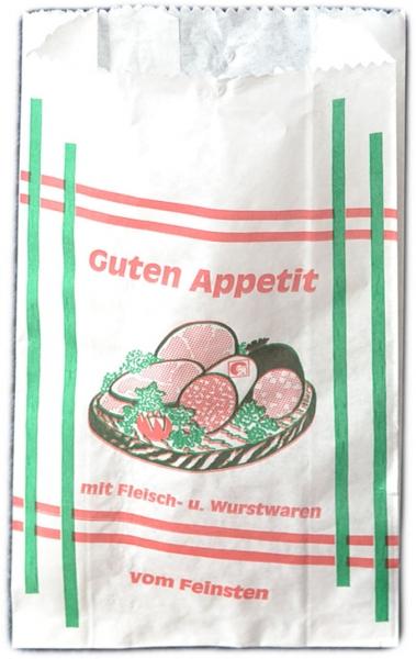 """Fleischerfaltenbeutel PE 200x70x320mm mit Motiv """"Guten Appetit Weiß"""""""