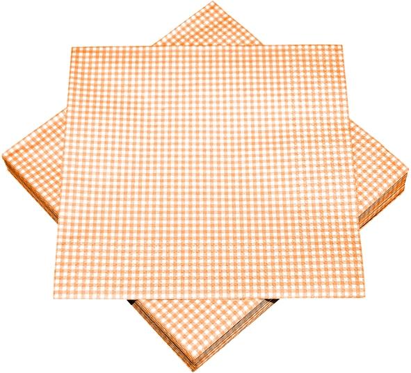 """Premium Servietten papier mit Motiv """"Karos orange"""" 330mm 3-lagig 1/4 Falz"""