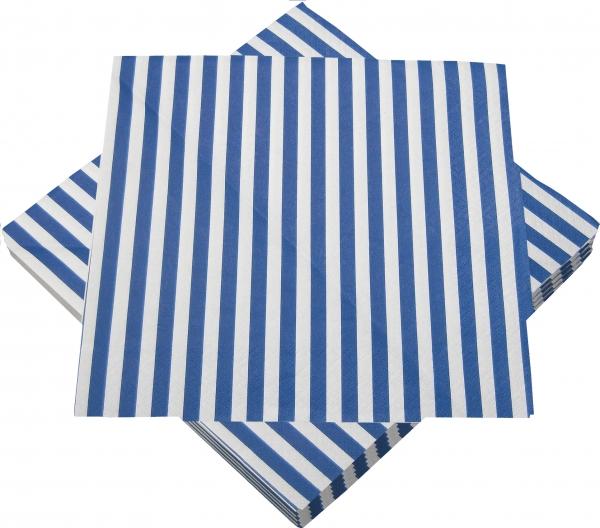 """Premium Servietten papier mit Motiv """"Streifen blau/weiß"""" 330mm 3-lagig 1/4 Falz"""
