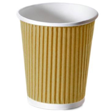 Bio Riffle-Cup-Becher ppk 200ml braun weiß , Kaffeebecher