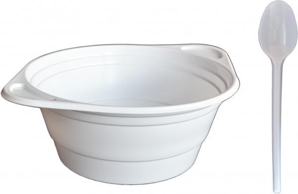 Sparset Suppenterrine rund pl weiß 500ml + Plastik Löffel pl weiß 18cm