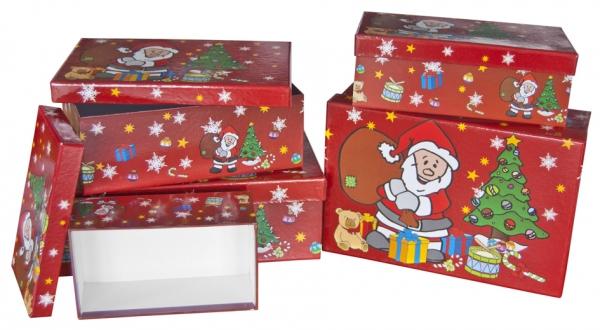 """5 Geschenkboxen rechteckig mit Motiv """"Weihnachtsmann"""""""