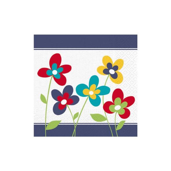 """Premium Servietten papier mit Motiv """"Summer Flowers"""" 330mm 3-lagig 1/4 Falz"""