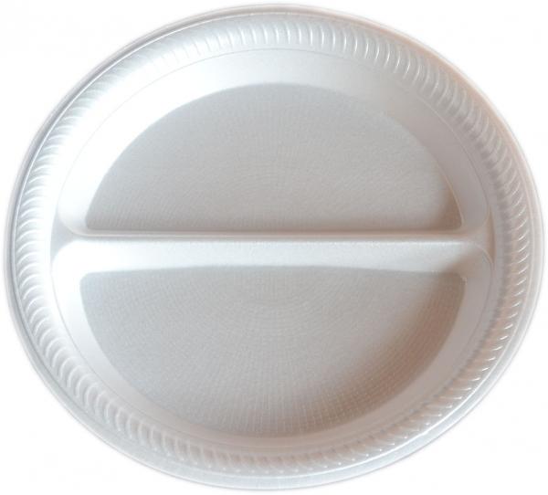 Menüteller rund zweigeteilt styropor weiß 225 mm