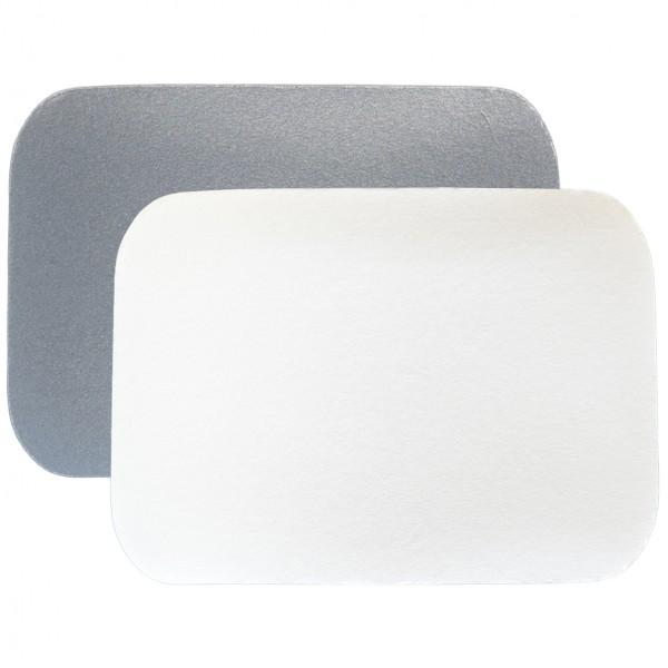 Alu-Karton-Deckel eckig weiß