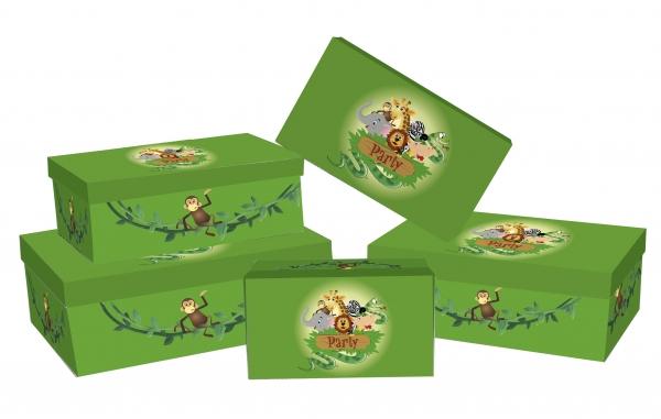 """5 Geschenkboxen rechteckig mit Motiv """"Dschungel"""""""