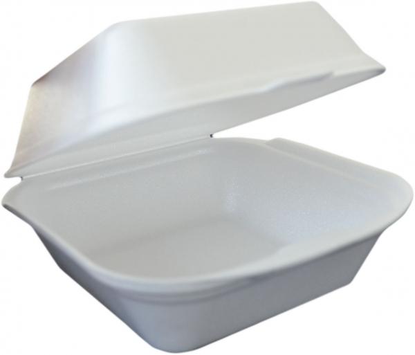 Hamburger Box XXL styro weiß 210x210x110mm mit Deckel