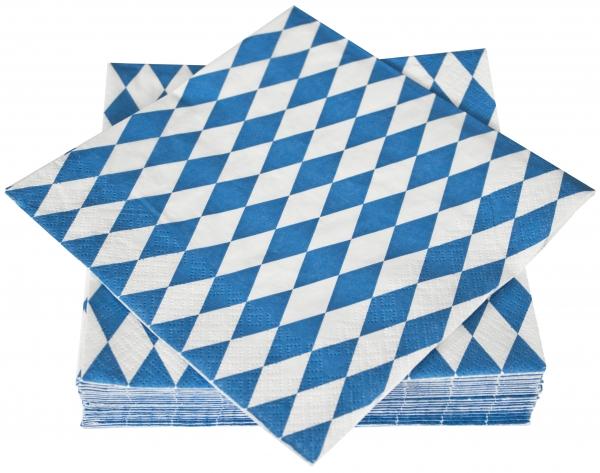 """Prägeservietten papier mit Motiv """"Bayrisch Blau"""" 330mm 1-lagig 1/4 Falz"""
