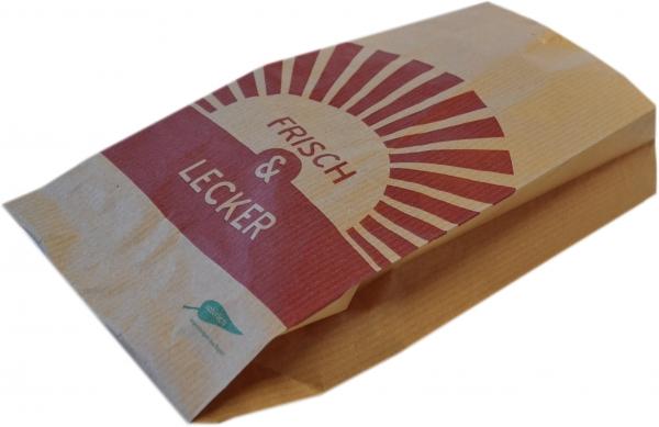 """Bäckerfaltenbeutel 160x60x360mm mit Motiv """"Frisch & Lecker"""" braun Nr.427 - Neues Motiv Art. 26093"""