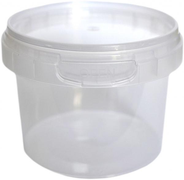 Verpackungsbecher rund 365ml pp transparent mit Originalitätsverschluss