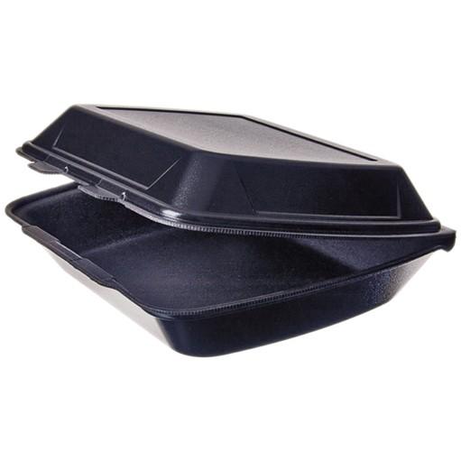 Warmhalte Menübox ungeteilt 245x210x72mm schwarz mit Deckel aus Styropor, außen laminiert