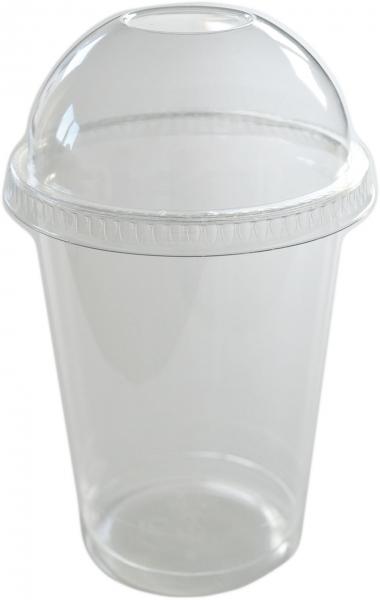 Sparset Smoothie Cups pet transparent 300ml + Smoothie Cups Domdeckel ohne Loch pet transparent